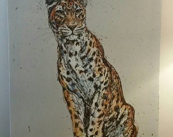 """Mid Century Modern Fritz Rudolph Hug Seated Cheetah. Vintage art Lithograph, 1971. 22""""x28"""" stretched canvas"""