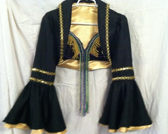 Mardi Gras outfit-bra, jacket, skirt, petticoat, hat-gold,purple,green and black
