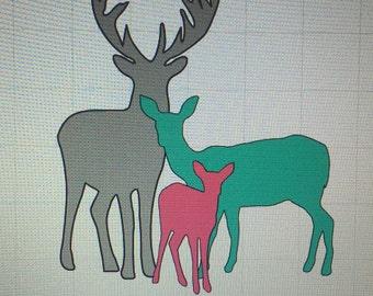 Custom Vinyl Deer Family
