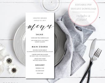 Wedding Menu Template. Wedding Menu Editable. Instant Download Wedding Menu. Wedding Menu Printable. Wedding Dinner Menu. DIY Menu. (SH)