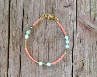delicate jade bracelet with seed beads and gold accents, turquoise of Jasper