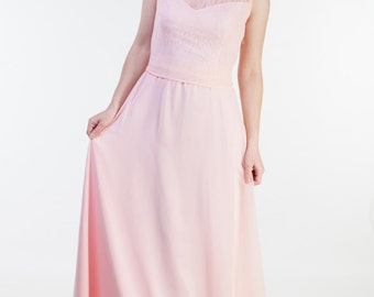 Pastel pink bridesmaid dress Pale pink bridesmaid dress Pastel bridesmaid dresses A-line dress bridesmaid long Pastel pink lace dress
