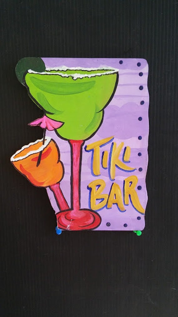 Whimsical Colorful Tiki Bar lettering on PVC Bright outdoor