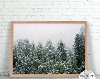 Snow Pine Trees Landscape - Scandinavian forest print- Printable Wall art - Digital print - Modern minimalist design - Photography