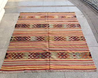 Turkish Handmade Kilim Tug, Anatolian Turkish Vintage Kilim Rug, Kilim Rug, Decorative Turkish Handwoven Kilim Rug
