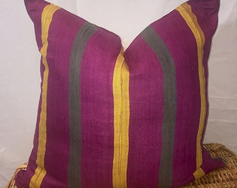 """Vintage Hand Woven, Hand Loomed -  Dyed African """"Aso-Oke"""" Throw Pillow Cover, 18'' x 18''."""