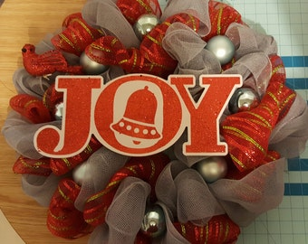 Red with green stripes and grey Joy Christmas deco mesh wreath