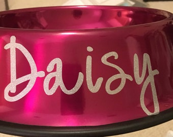 Personalized dog bowl, metal, rust proof, dent proof, metallic, made to order, personalized, stainless steel