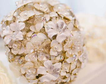Brooch Bouquet Romantic White Ivory & Gold Bridal Brooch Bouquet