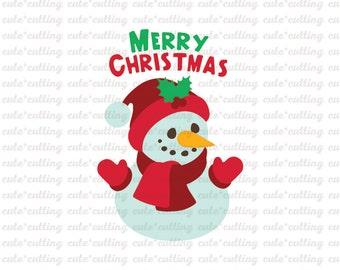 Snowman svg, Christmas svg, Merry Christmas svg dxf jpeg cutting files for Silhouette Cameo, Portrait, Curio, Cricut