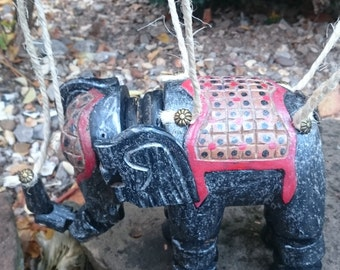 Vintage Elephant Marionette Puppet Hand Painted, hand carved & restored  in silver grey red ,articulated