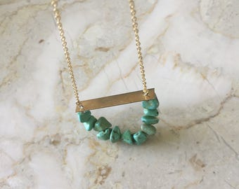 Turquoise Dyed Howlite & Brass Bar Necklace, Brass Pendent, Brass, Necklace, Jewelry, Long Necklace, Turquoise, Howlite, stone