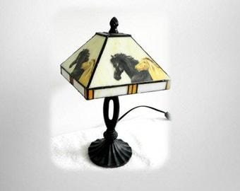 Slag glass table lamp with painted horses on shade