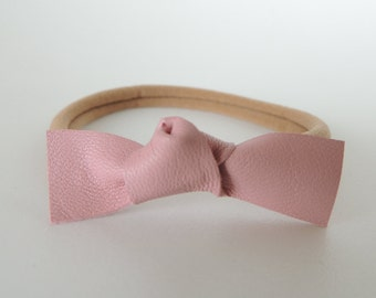 Single Knot Baby Headband | leather baby bow | nylon headband | handmade | baby headband | simple headband | trendy headband