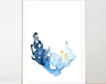 Abstract Watercolor Print, Minimalist, Modern Wall Decor, Blue Art Print, Zen Art, Soft Colors, Blue & Gold, Blue Art, Ocean, Water Painting