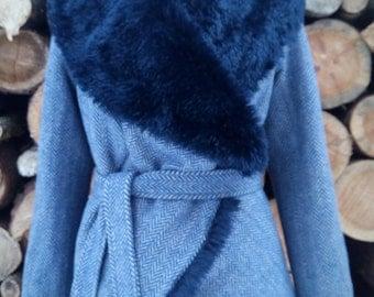 ON SALE 20% OFF Womens' Winter Coat, Dark Blue Coat, Fur Coat, Warm Coat, Womens Jacket, Winter Jacket, Warm Fur Jacket, Fur Lined