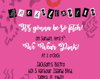 Mean Girls Inspired Bachelorette Party Invitation