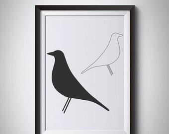 Scandinavian print, Nordic Style Print, Home decor print, Black White Bird digital Print, Eames Bird, Minimalist Ar
