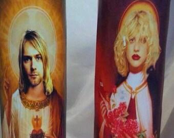 Saint Kurt Cobain and Saint Courtney Love Grunge Royalty Prayer Candle Set