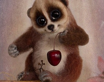 Slow Loris felted toy.