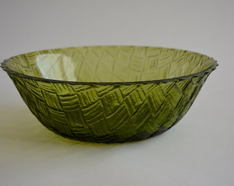 Green Weavetex Serving Bowl in the Basketweave Pattern by Indiana Glass, Green Serving Bowl, Green Glass Bowl, Green Glass, Green Glassware
