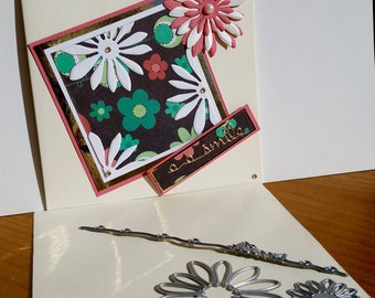A square cream blank card, handmade, handcrafted, embellished.
