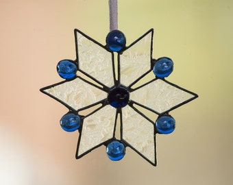 Stained Glass Snowflake w/Blue Glass Nuggets