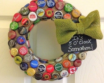 Mixed Variety Craft Beer Caps & Burlap Upcycled Repurposed Wreath, It's 5 O'Clock Somewhere!