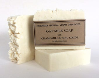 Natural Oat Milk Soap with Zinc Oxide and Chamomile, Rustic soap, Unscented soap, Handmade soap, Glycerin soap