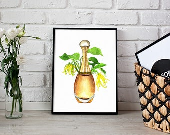 Dior print, perfume illustration, fragrance lover - 3 sizes available Giclee print