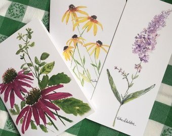 Set of Three Floral Note Cards, Spring Special!