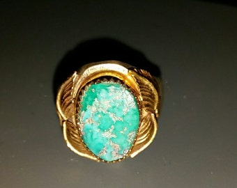 12 k Gold and Sterling Silver Combo with Authentic Turquoise Native American Indian Men's Ring Sz 11 3/4