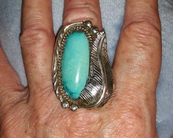 Vintage Sterling Silver Turquoise Native American Ring Sz 7.5