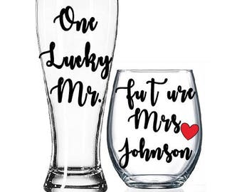 Future Mrs, One Lucky Mr, Engagement Gift, Bride and Groom Glasses, Bride to be, Mrs and Mrs, Soon to be Mrs, Wifey & Hubby, Bridal Shower,