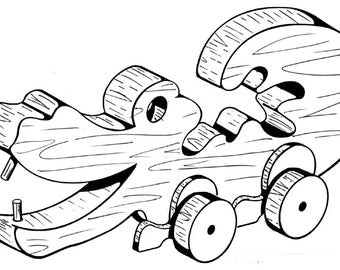 Alligator Pull or Play Toy #104 - Woodworking / Craft Pattern. Same Size, Outline Drawings, Simply Trace & Create. No Enlarging or Reducing