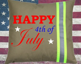 Firefighter TAN Pillow - Happy 4th of July