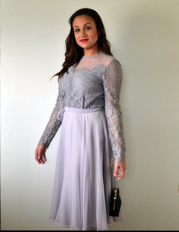 Silver Lining Dress | vintage 70's light gray chiffon skater dress | illusion bodice fit and flare