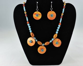 gourd necklace and ear ring set.