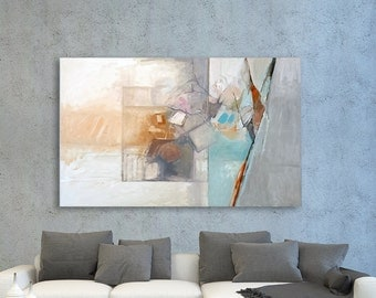 Large Wall Art, Abstract Painting, Landscape Painting, Acrylic Painting, Blue Gray Painting, Modern Painting, Original Painting, Nature Art.