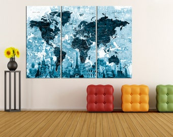 modern wall art push pin world map canvas print, Large wall Art, wonders of the World Map wall art, extra large wall art push pin  No 6S26