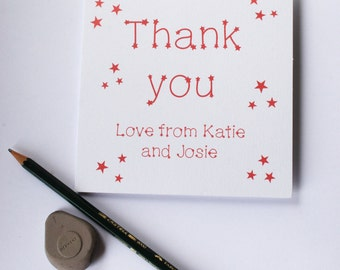 Star thank you card pack of 5 personalised, thank you cards, personalised cards, kids thank you cards, packs of cards, greetings cards