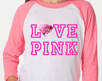Love Pink Diamond Pink T Shirt 3/4 Raglan Sleeves Girls