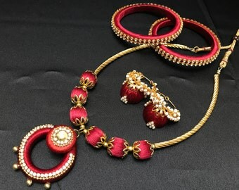Maroon Silk Thread Jewelry - Indian Jewelry - Indian Bridal Jewelry - Silk Thread Bangles - Silk Thread Set - Indian Jhumki Jhumka Earrings