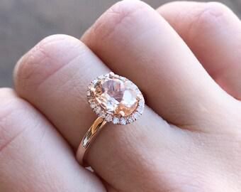 2.87 Ct Oval Morganite Rose Gold Ring