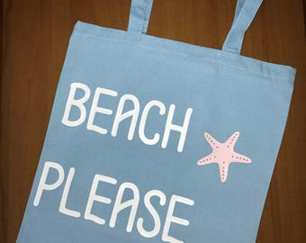 Beach Please Canvas Tote Bag //Beach Bag