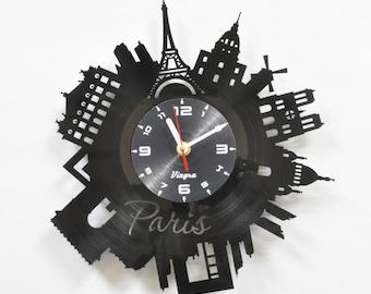PARIS Vinyl record Clock Paris Wall Decor Eiffel Tower Wall  Paris Bedroom Decor Paris Wall Clock Parisian Decor Paris Wall Art Gift for Her