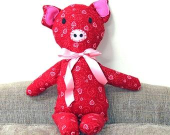 Pig, Valentine Pig, Red Heart Pig, Red Pig, Nursery, Home Decor, Toy Pig, Stuffed Animal, Babyshower, Stuffed Pig, Girl Pig, READY TO SHIP