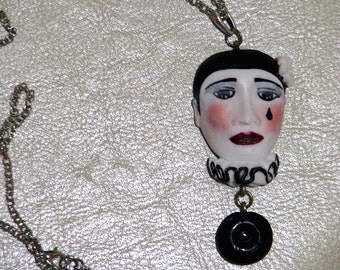 PIERROT in polymer clay necklace/polymer clay ... hand carved