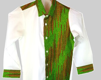 Boys Shirt - Long sleeves white and green shirts enhanced with a fusion of African Print