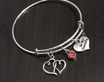 Be My Valentine Bangle Bracelet - C179 - Double Heart - I Love You - Valentine's Day Gift for Wife - Valentine's Day Gift for Girlfriend
